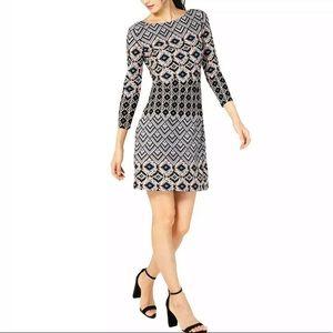 Vince Camuto Black Printed 3/4 Sleeves Shift Dress
